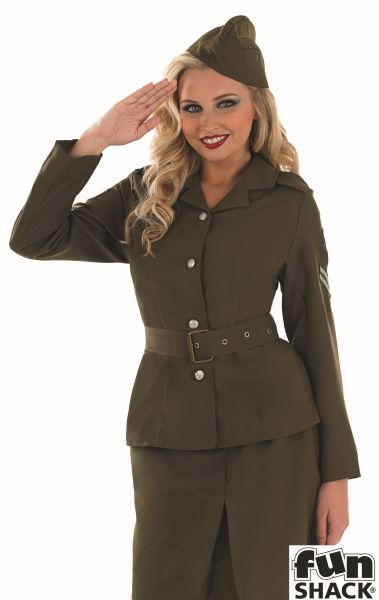 WW2 Army Girl Fancy Dress Costume Thumbnail 1