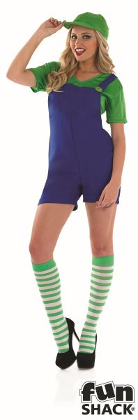 Green Plumbers Mate Girl Fancy Dress Costume Thumbnail 2