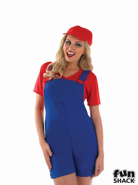 Red Plumbers Mate Girl Fancy Dress Costume Thumbnail 1