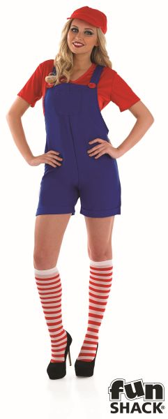 Red Plumbers Mate Girl Fancy Dress Costume Thumbnail 2
