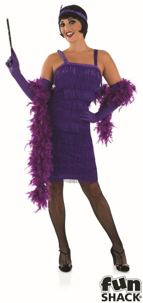Roaring 20s Girl Fancy Dress Costume Purple  Thumbnail 2