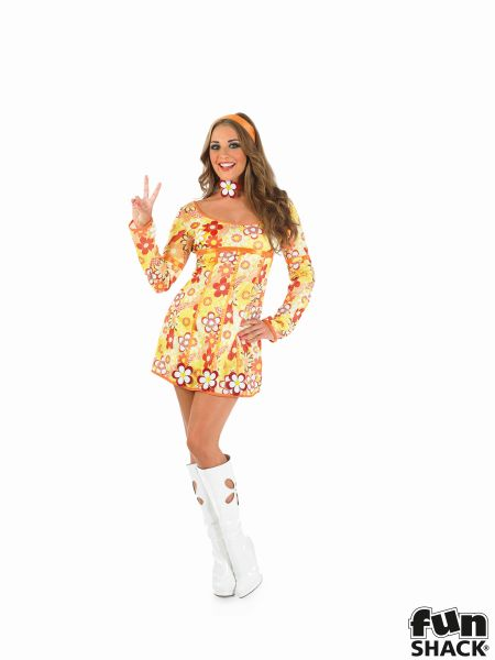 Yellow Hippie Dress Fancy Dress Costume Thumbnail 2