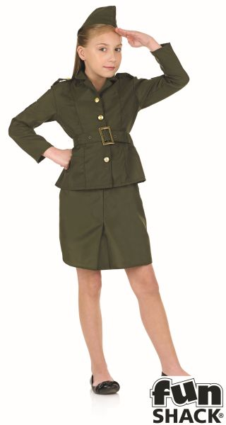 WW2 Army Girl Fancy Dress Costume Thumbnail 2