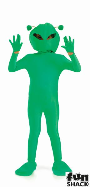 SALE! Kids Green Space Alien Boys Book Week Halloween Fancy Dress Childs Costume Thumbnail 2