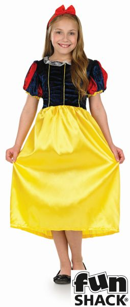 Kids Fairytale Princess Snow White Girls Book Week Fancy Dress Childs Costume Thumbnail 2