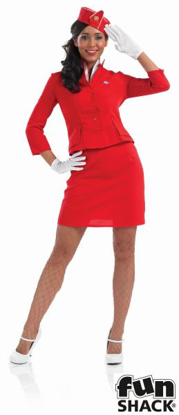 Red Cabin Crew Lady Fancy Dress Costume Thumbnail 2