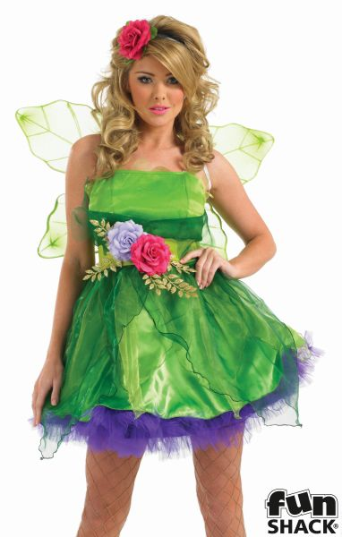 Deluxe Sexy Fairy Nymph Ladies Fancy Dress Costume Hen Party Outfit Size 8 - 26  Thumbnail 1