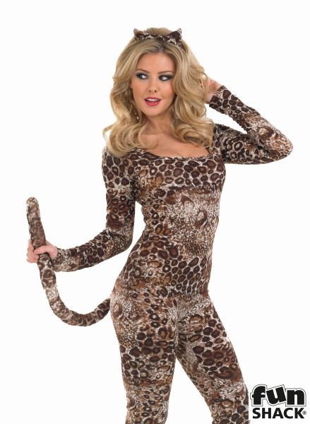 Sexy Cougar Catsuit Ladies Fancy Dress Costume Hen Party Outfit UK Sizes 8 - 30 Thumbnail 1
