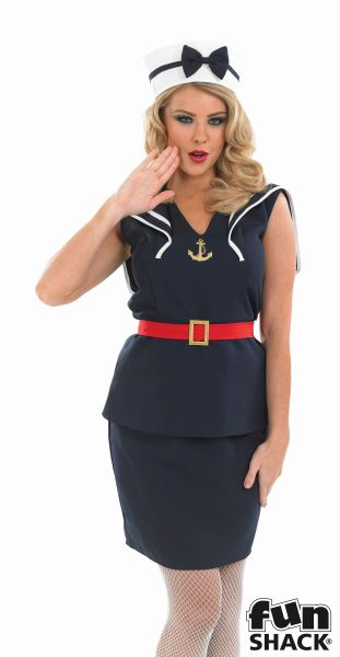 Women's Pin Up Sailor Girl Fancy Dress Costume Thumbnail 1