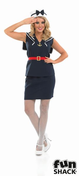 Women's Pin Up Sailor Girl Fancy Dress Costume Thumbnail 2