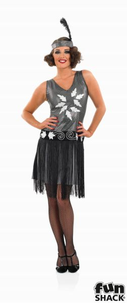 20's Flapper Costume Ladies 1920's Charleston Fancy Dress Hen Night Party Outfit Thumbnail 2