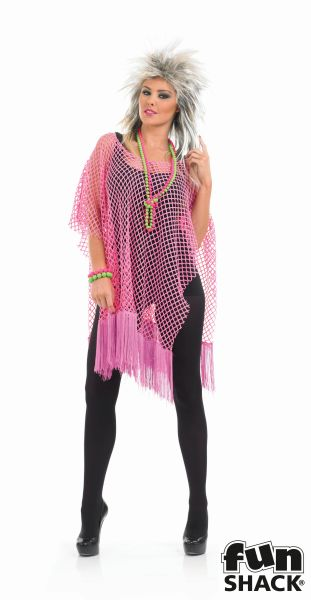 Womens Neon Pink Long Net Top  Thumbnail 2