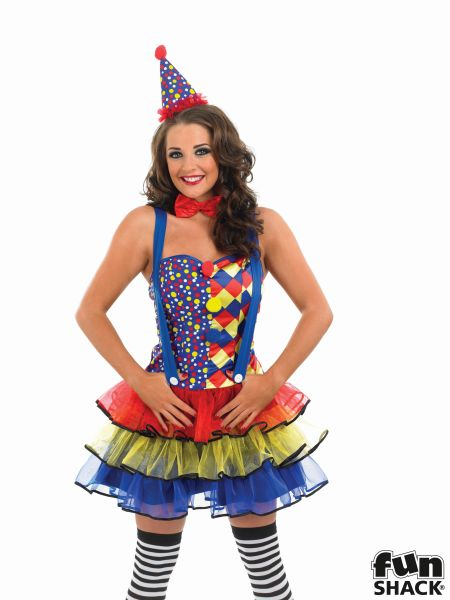 Deluxe Sexy Cutie Clown Ladies Fancy Dress Costume Party Outfit Plus Size 8-30  Thumbnail 1