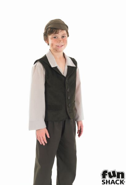 Kids Victorian Street Urchin Boys Book Week Fancy Dress Childs Costume Outfit Thumbnail 1