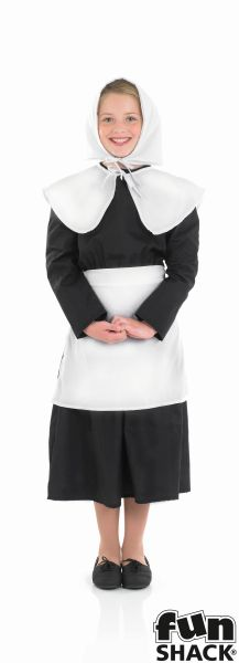 Kids Pilgrim Puritan Amish Girl Book Week Fancy Dress Childs Costume Outfit Thumbnail 2