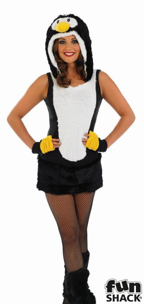 Adult Sexy Zoo Animal Cute Penguin Ladies Fancy Dress Christmas Costume Outfit Thumbnail 1