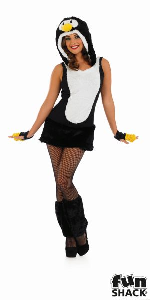 Adult Sexy Zoo Animal Cute Penguin Ladies Fancy Dress Christmas Costume Outfit Thumbnail 2