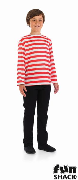 Kids Wheres My Red & White Striped Top Boys Book Week Fancy Dress Costume Outfit Thumbnail 2