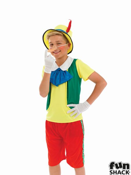 Kids Fairy Tale Pinocchio Puppet Boys Book Week Fancy Dress ChildsCostume Outfit Thumbnail 1