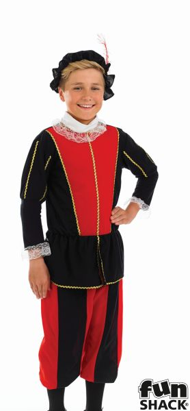 Kids Medieval Tudor Prince Boys Book Week  Fancy Dress Childs Costume Outfit Thumbnail 1