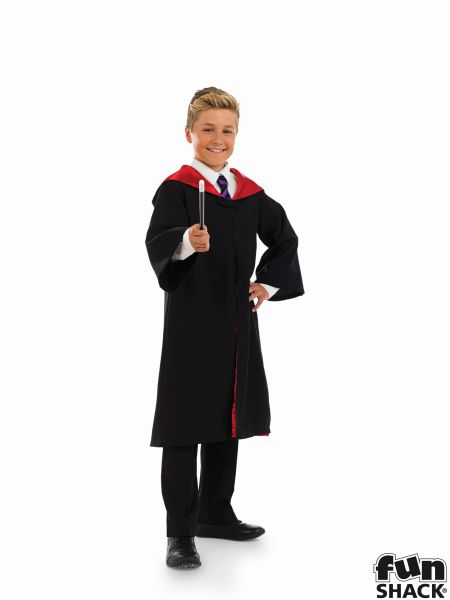Childs Wizard Cape and Wand Fancy Dress Costume Thumbnail 1