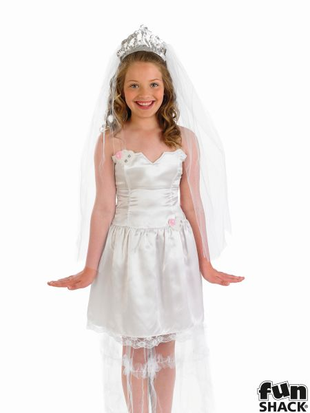 SALE! Kids Princess Bride Girls Wedding Day Fancy Dress Childs Costume Outfit Thumbnail 1