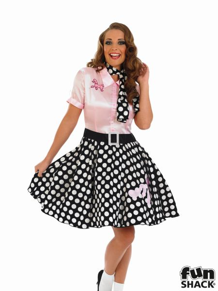 Adult Sexy 50s Rock n Roll Girl Costume Nifty Fifties Poodle Hop Fancy Dress Thumbnail 1