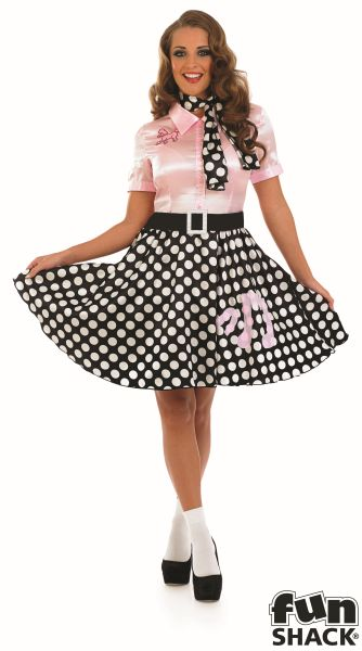 Adult Sexy 50s Rock n Roll Girl Costume Nifty Fifties Poodle Hop Fancy Dress Thumbnail 2