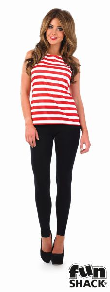 Where's My Red & White Striped Top Costume Ladies Book Week Fancy Dress Outfit Thumbnail 2