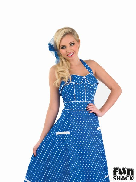 50s Blue Dress Fancy Dress Costume Thumbnail 1