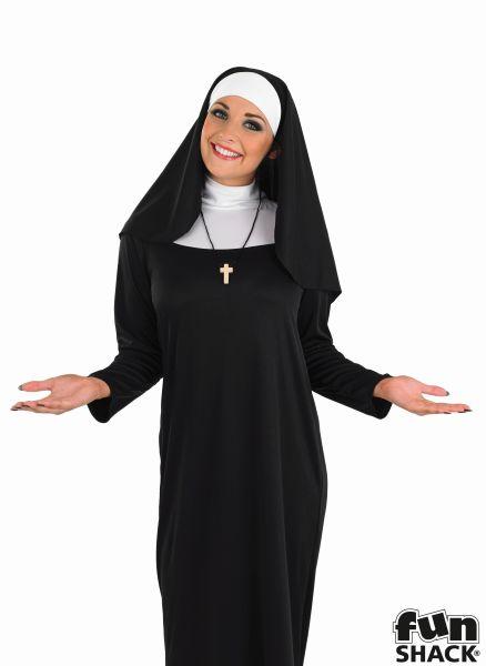 Beautiful Long Black NUN Ladies Fancy Dress Costume Hen Party Outfit Size 8 - 26 Thumbnail 1