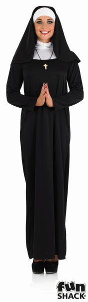 Beautiful Long Black NUN Ladies Fancy Dress Costume Hen Party Outfit Size 8 - 26 Thumbnail 2