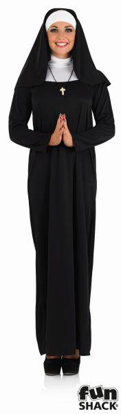 Beautiful Long Black NUN Ladies Fancy Dress Costume Hen Party Outfit Size 8 - 26 Thumbnail 2