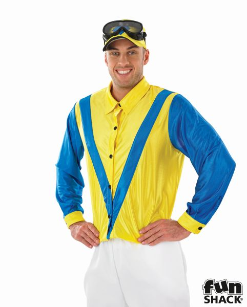 Blue and Yellow Jockey Fancy Dress Costume Thumbnail 1
