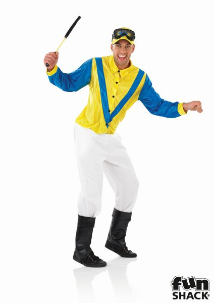 Blue and Yellow Jockey Fancy Dress Costume Thumbnail 2