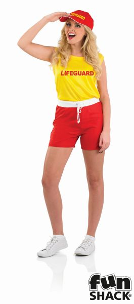 Sexy BabeWatch Lifeguard Ladies Fancy Dress Costume Hen Party Outfit Size 8 - 22 Thumbnail 2