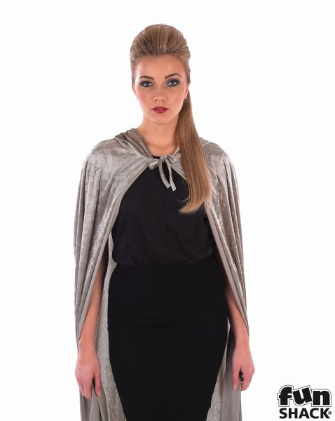 Grey Velour Hooded Cape Thumbnail 3