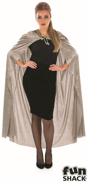 Grey Velour Hooded Cape Thumbnail 4