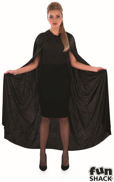 Black Velour Hooded Cape Thumbnail 1