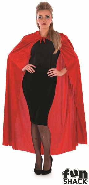 Red Velour Hooded Cape Thumbnail 1