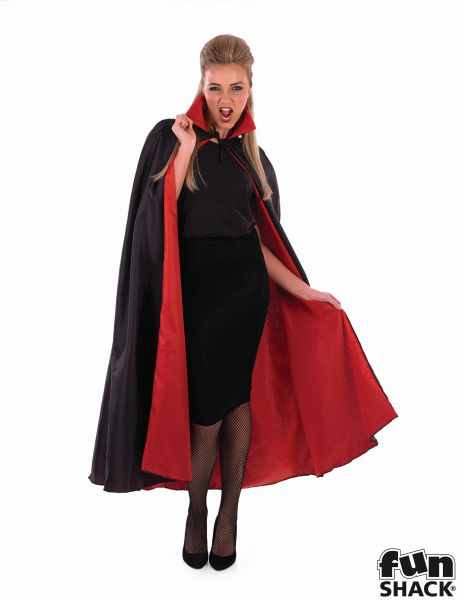 Black Vampire Cape With Red Lining Thumbnail 4