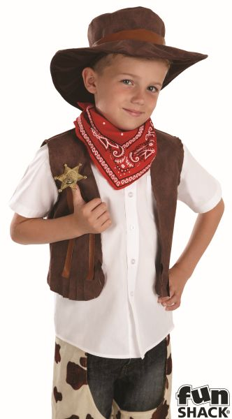 SALE! Kids Wild West Cowboy Boys Book Week Fancy Dress Childs Costume Outfit Thumbnail 1