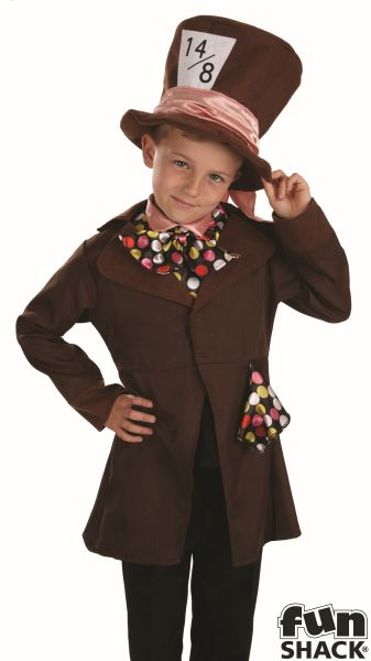 Boys Book Week Little Mad Hatter Costume Kids Fancy Dress Outfit Thumbnail 1