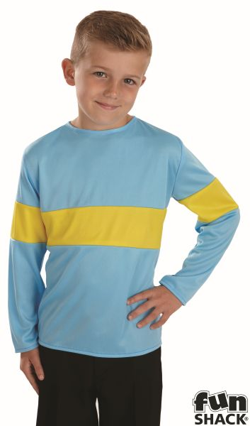 Kids Horrid Boy Blue & Yellow Top Boys Book Week Fancy Dress Childs Costume Thumbnail 1
