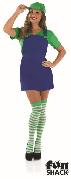 Sexy Green Plumbers Mate Girl Fancy Dress Costume Thumbnail 2