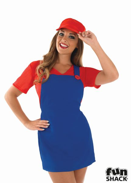 Sexy Red Plumbers Mate Girl Fancy Dress Costume Thumbnail 1