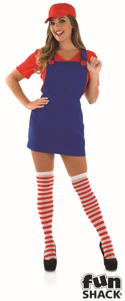Sexy Red Plumbers Mate Girl Fancy Dress Costume Thumbnail 2