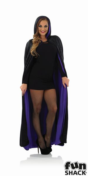 Long Hooded Purple Velour Cape  Thumbnail 1