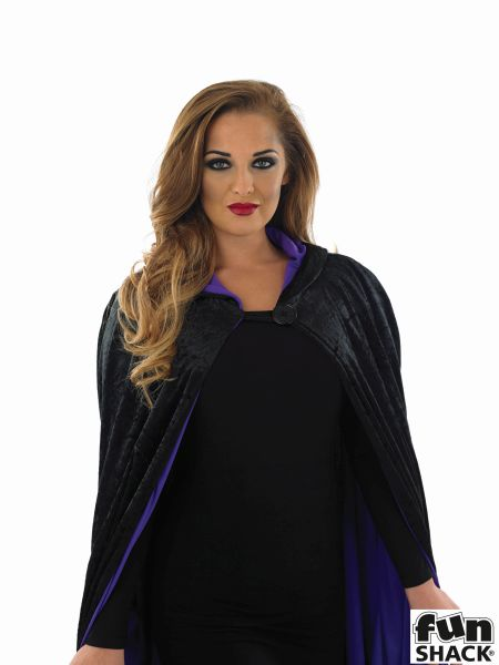 Long Hooded Purple Velour Cape  Thumbnail 2