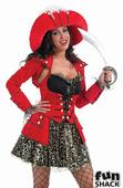 Deluxe Glitzy Pirate Ladies Fancy Dress Costume Hen Party Outfit UK Size 8 - 26